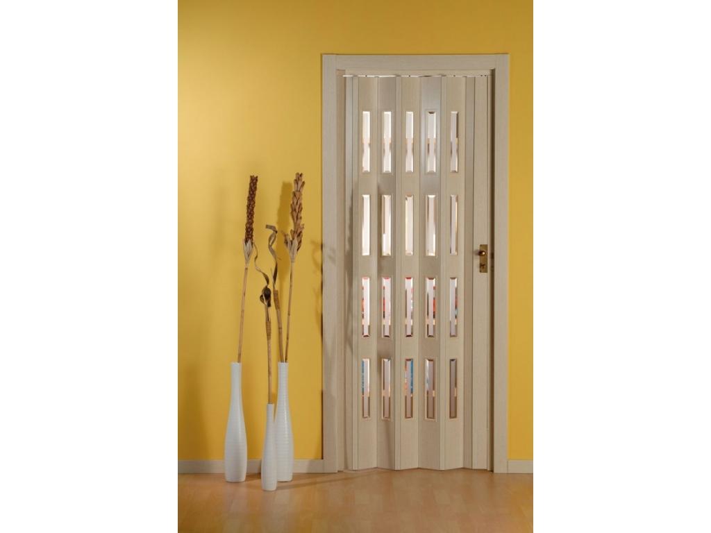 Porta a soffietto in pvc pastello e vetri niagara for Porte decorative