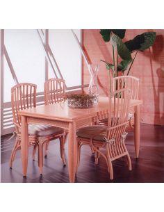 Tavolo rettangolare Newton con 2 allunghe e fascia in midolino