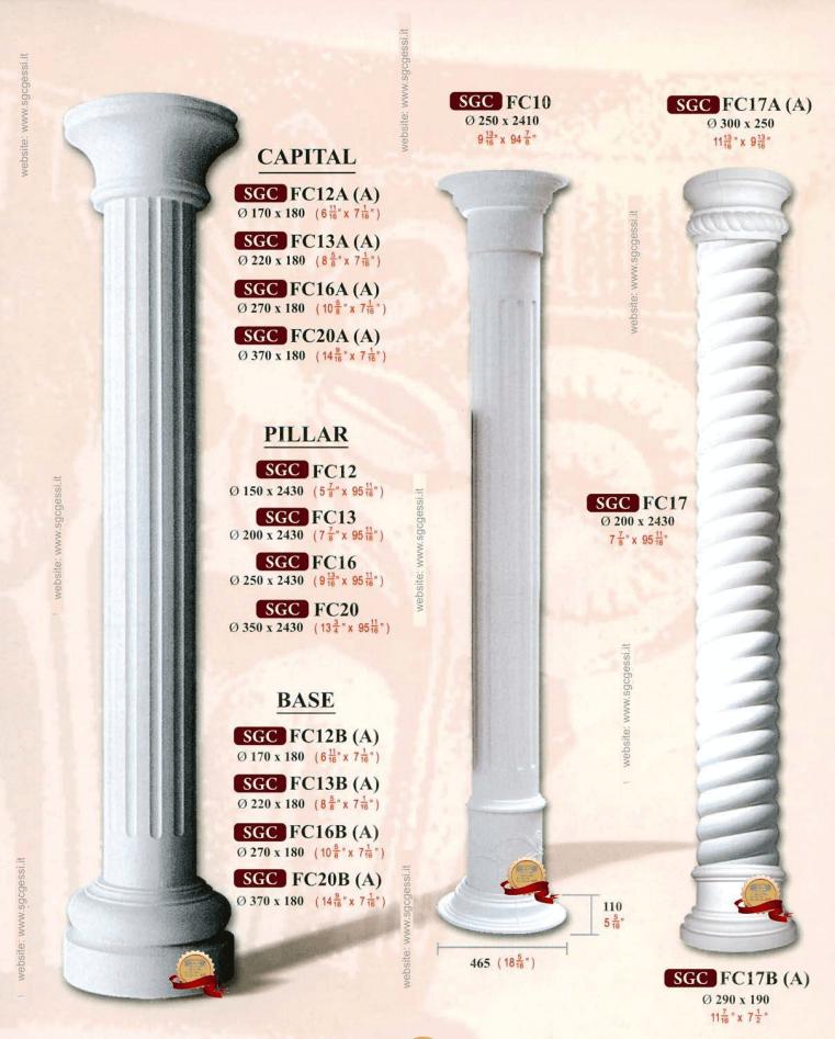 Colonne e capitelli in gesso for Colonne in polistirolo prezzi